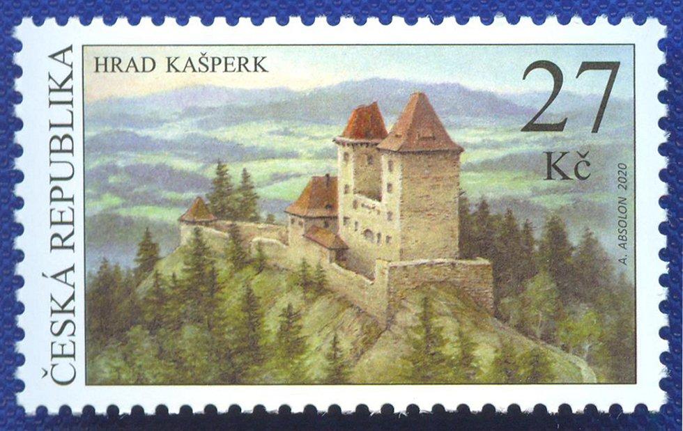 Hrad Kašperk na poštovní známce.