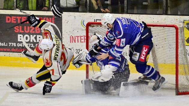 Z třetího utkání čtvrtfinálové série SC Kolín - Jablonec (1:2).