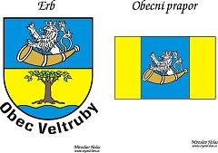 Erb a prapor obce Veltruby.