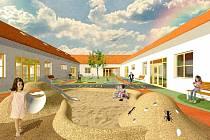 Vizualizace budoucí podoby Mateřské školy v Cerhenicích, která by měla vyrůst nedaleko zahradního hřiště. Měla by působit domáckým dojmem, něco jako selský statek.