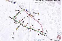 Nákres dopravního řešení uzavírky Modrého bodu 1 etapa