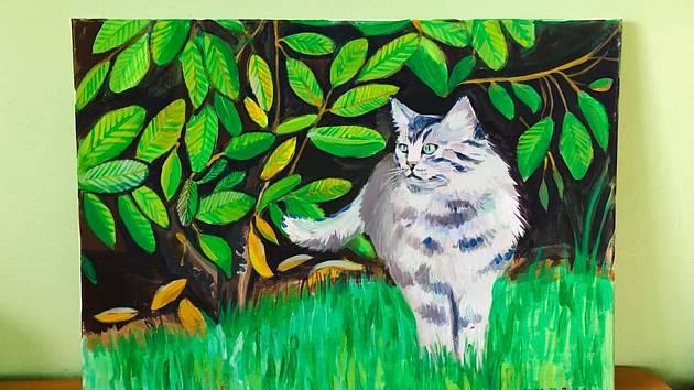 Kristýna Hamálková věnovala obraz, který namalovala akrylem na plátno. Velikost 70x50 cm. Vyvolávací cena: 800 Kč
