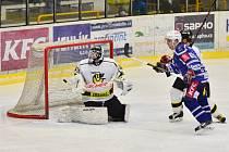 Z utkání 1. kola play off Kolín - Moravské Budějovice (6:4).