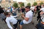 Kolínské kulturní léto: z koncertu Lazy Brass, Pokáče a Migu 21 na Karlově náměstí v Kolíně.
