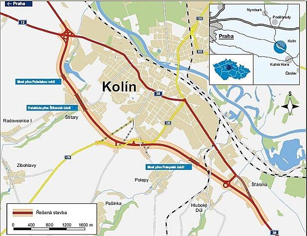 Obchvat Kolína na mapě.