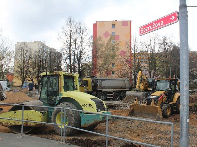 Rekonstrukce Masarykovy ulice v Kolíně, polovina dubna 2018