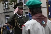 První část z oslav sto let od založení Československa se v Kolíně odehrála u sochy Tomáše Garrigue Masaryka před budovou gymnázia.