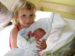 David Janeček se mamince Elišce a tatínkovi Janovi narodil 14. srpna 2013 s mírami 48 centimetrů a 2920 gramů. Domů do Kolína – Štítar si ho rodiče odvezou k pětileté sestřičce Verunce (s bráškou na snímku).