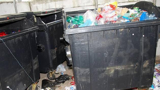 Nepořádek u kontejnerových stání na českobrodském sídlišti