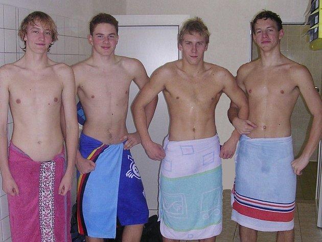 Úspěšní kolínští plavci: (zleva) Robert Chlád, Petr Davídek, Adam Kavřík, Ondřej Vít.