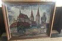 Kolínský chrám sv. Bartoloměje na darovaném obrazu.