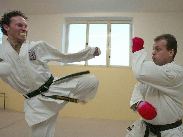 Tomáš Matějka (vlevo) a Mojmír Turek při tréninku.