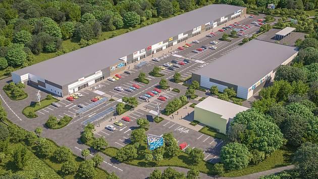 Vizualizace: nákupní centrum na zálabské straně Kolína nabídne supermarket i řadu menších obchodů.