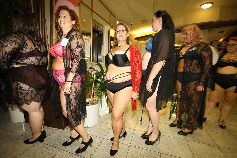 Z finálového večera soutěže krásy Miss Baculaté Křivky v hotelu Theresia v Kolíně.
