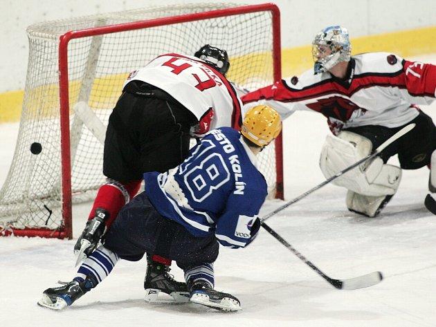 Z utkání druhé hokejové ligy Kolín - Česká Lípa (2:5).