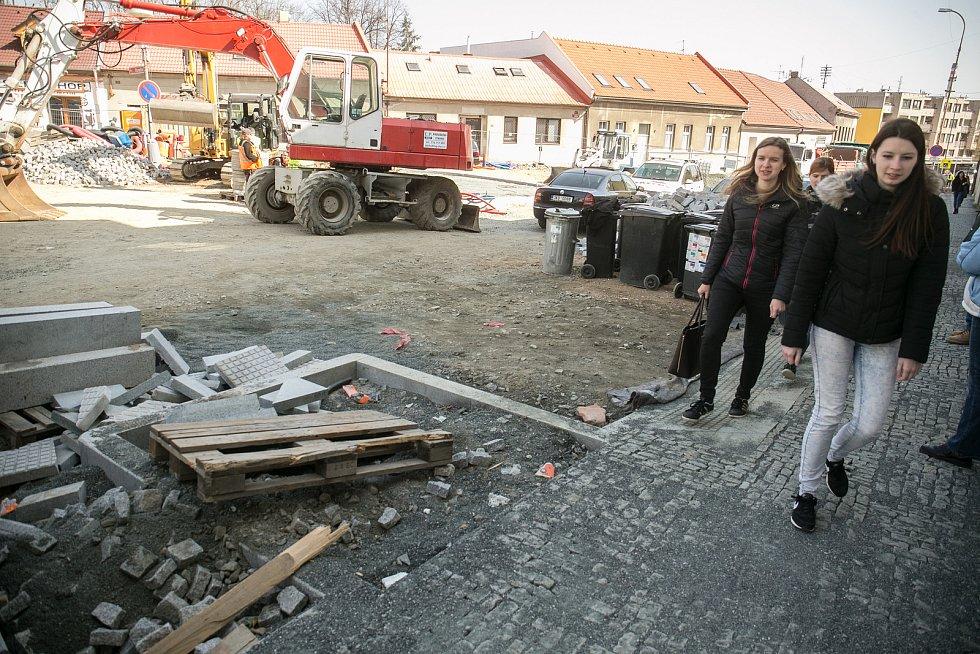 Blokáda v Pražské ulici v Kolíně.