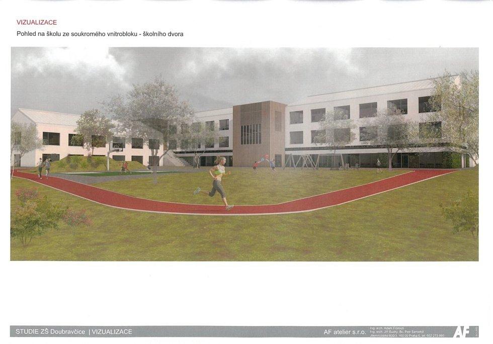 Vizualizace budoucí základní školy v Doubravčicích.