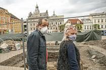 Rozkopaná část Karlova náměstí v Kolíně.