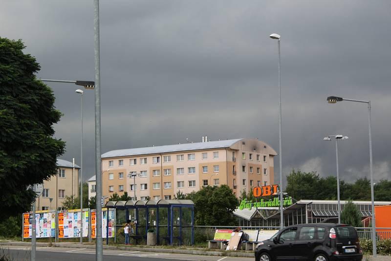 Silný déšť v Kolíně.