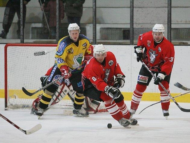 Z utkání druhé hokejové ligy Kolín - Kutná Hora (7:3).