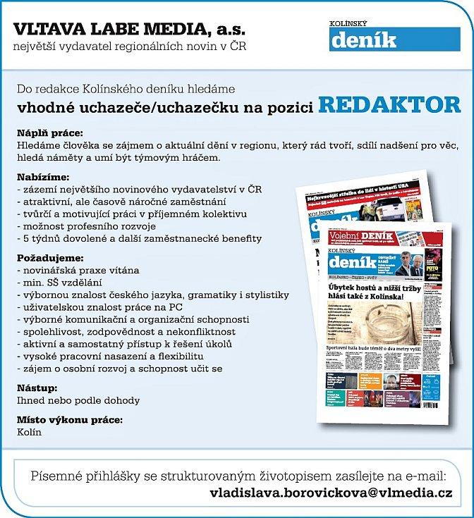 Inzerát na volné místo redaktora v Kolínském deníku.