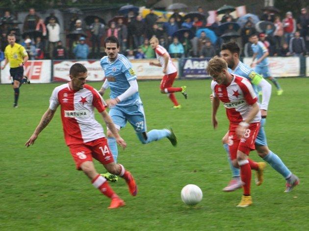 Z přátelského utkání Slavia Praha - Slovan Bratislava (1:3).