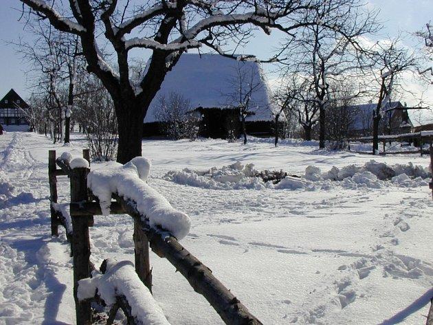 Kouřimský skanzen pod sněhovou nadílkou