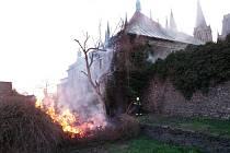 Požár u chrámu sv. Bartoloměje v Kolíně