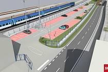 Takto by mělo ani ne za rok vypadat parkoviště před nádražím v Českém Brodě.