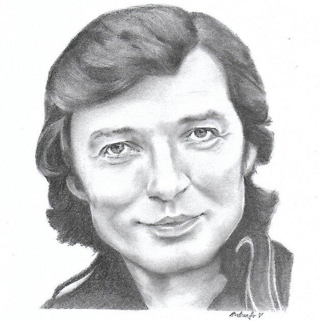 Portrét zpěváka Karla Gotta od výtvarnice Andrey Soukupové zVrbčan.