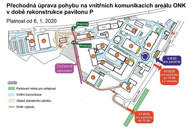 Přechodná úprava pohybu na vnitřních komunikacích areálu Oblastní nemocnice vKolíně vdobě rekonstrukce pavilonu P.