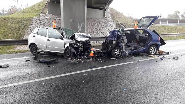 Nehoda na obchvatu Kolína 2. listopadu 2019.