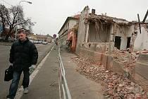 Demolice domu v Rorejcově ulici v Kolíně