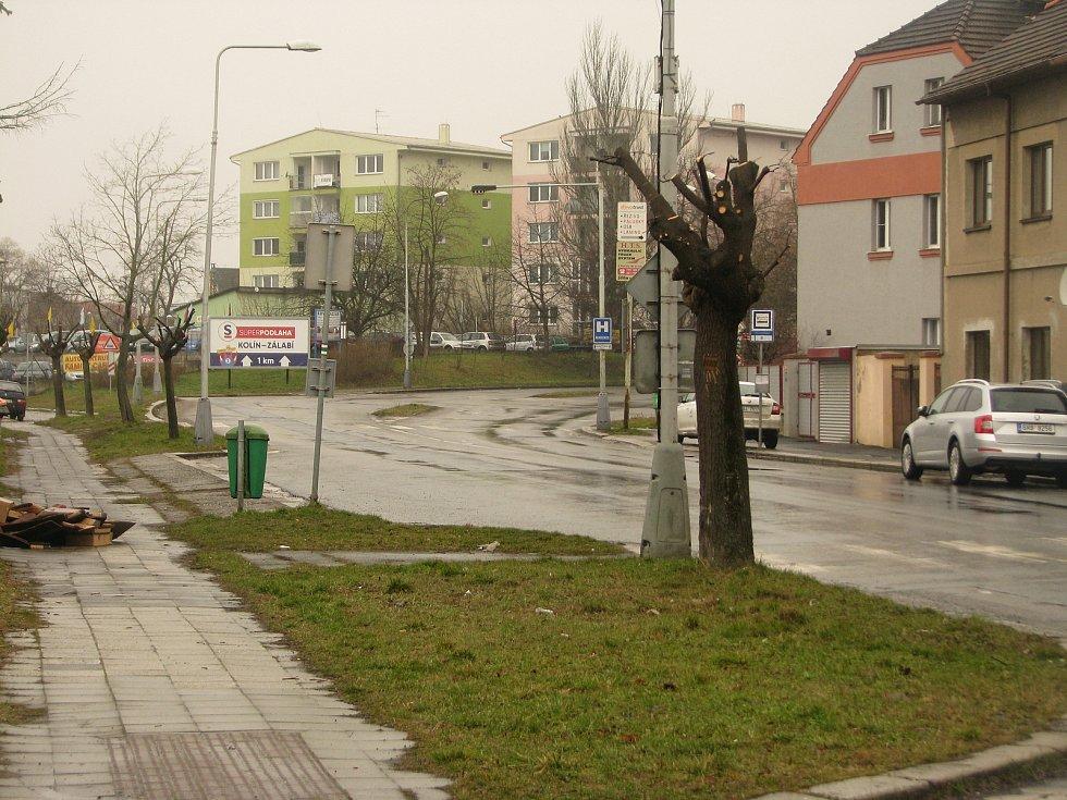 Třídvorská ulice v Kolíně, březen 2021.