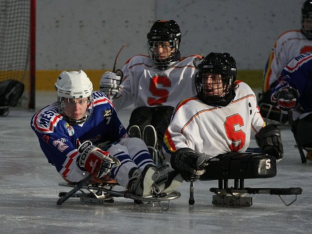 Z utkání semifinále play off České sledge hokejové ligy Draci Kolín - Sparta Praha (2:1).