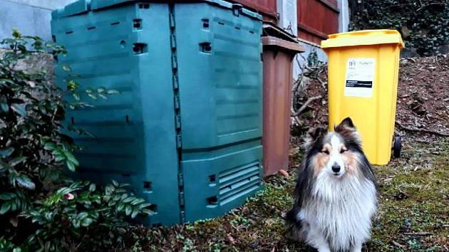 Na fotografii vlevo kompostér, uprostřed hnědá nádoba na odpad a vpravo popelnice na plasty.