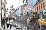Rekonstrukce Kouřimské ulice v Kolíně, březen 2018