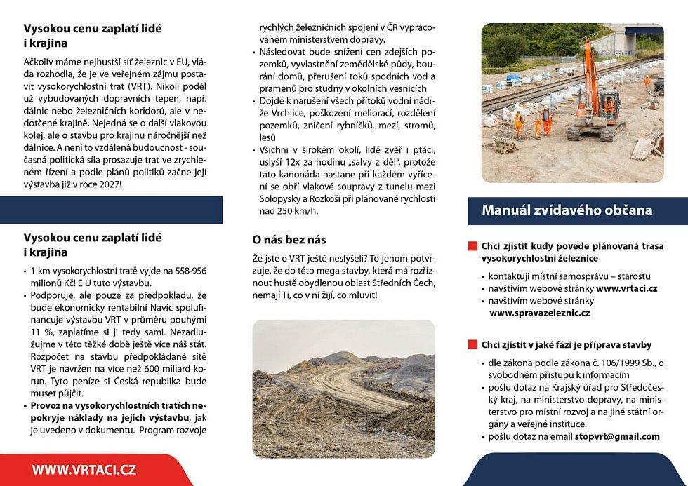 Leták spolku VRTáci, který nesouhlasí s plánovanou stavbou vysokorychlostní trati.