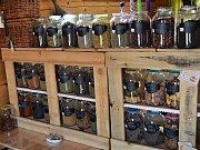 Bezobalový obchod Statek na Rynku v Pašince u Kolína nabízí své produkty ve skleněných nádobách.