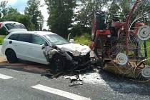 Dopravní nehoda na silnici I/38 u odbočky na Velim ve čtvrtek 25. června 2020.