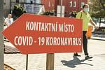 Odběrové místo pro pacienty s podezřením na nákazu koronavirem v Kolíně.