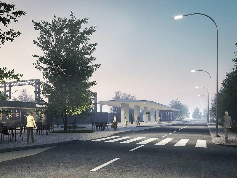 Vizualizace dopravního terminálu v Úvalech.