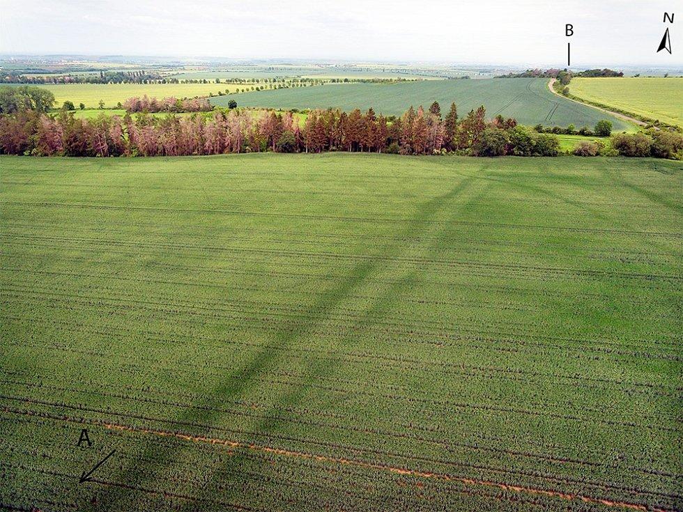 Dvojitá linie vyvýšeného terénu jihozápadně od Lipské hory.