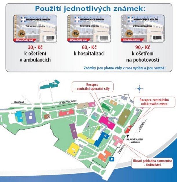 Zdravotní známku budete moci koupit v centrální pokladně v budově ředitelství kolínské nemocnice, na recepci centrálních operačních sálů a centrálního odběrového místa.
