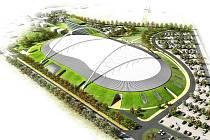 Vizualizace velkoosecké sportovní haly.