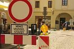 Oprava propadlé vozovky v Rubešově ulici v Kolíně.
