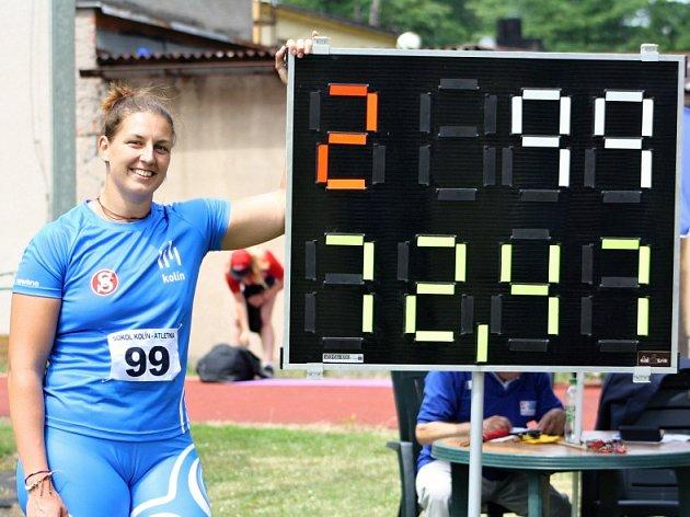 Kateřina Šafránková s čísly nového českého rekordu.