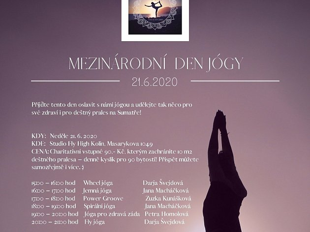 Plakát na Mezinárodní den jógy vKolíně