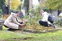 Sem už asi hodně dlouho nikdo nepřišel zapálit svíčku, napadlo nás při pohledu na hrob bez květin a s rozlomenou deskou. Na hrobě mistra litografického tedy vzplanula alespoň svíčka za Kolínský deník.
