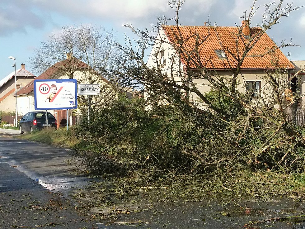 Spadané stromy komplikovaly lidem cestu do práce také na Českobrodsku.